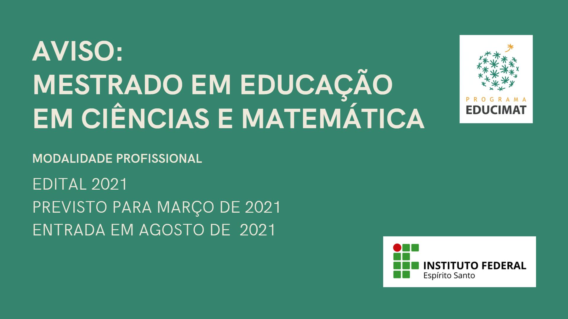 Edital do Mestrado-Educimat, em março de 2021